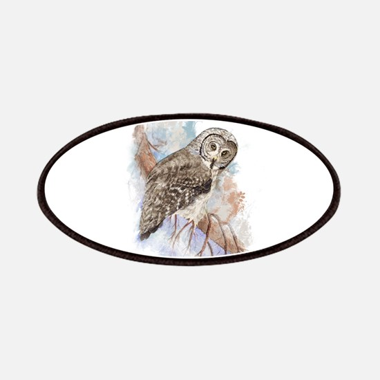 Watercolor Great Gray Owl Bird Nature Art Patches