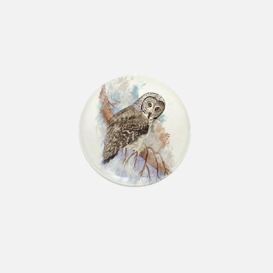 Watercolor Great Gray Owl Bird Nature Art Mini But