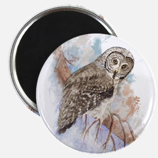 Watercolor Great Gray Owl Bird Nature Art Magnets