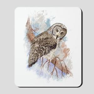 Watercolor Great Gray Owl Bird Nature Art Mousepad