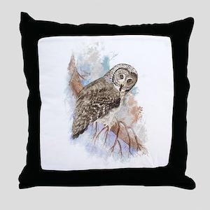 Watercolor Great Gray Owl Bird Nature Art Throw Pi
