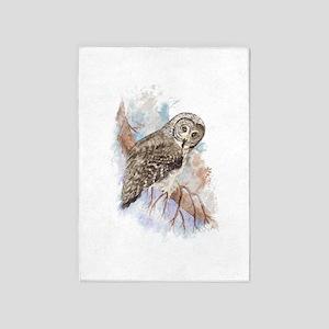 Watercolor Great Gray Owl Bird 5'x7'area R