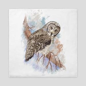 Watercolor Great Gray Owl Bird Nature Art Queen Du