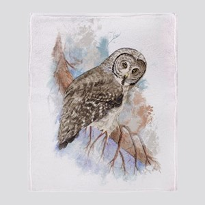 Watercolor Great Gray Owl Bird Throw Blanket