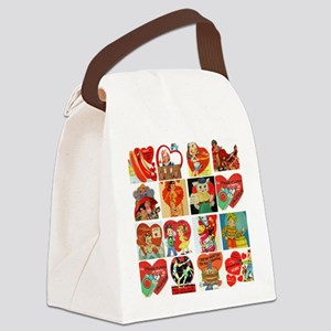 vintage valentines day cards feb Canvas Lunch Bag