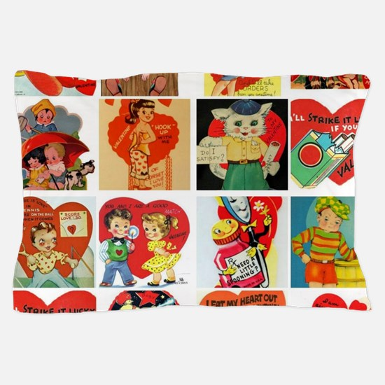 vintage valentines day cards feb Pillow Case