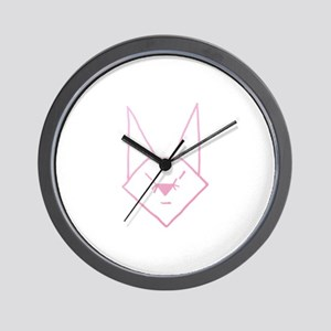 Pink Anime Rabbit Wall Clock