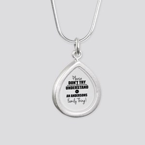 Custom Family Thing Silver Teardrop Necklace