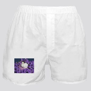 Easter Bunny Surrounded by Purple Flowers Boxer Sh