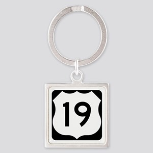 US Route 19 Square Keychain