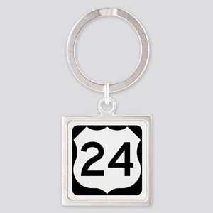 US Route 24 Square Keychain