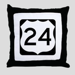 US Route 24 Throw Pillow