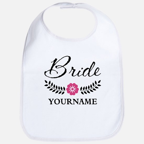 Custom Bride with Flower Wreath Bib