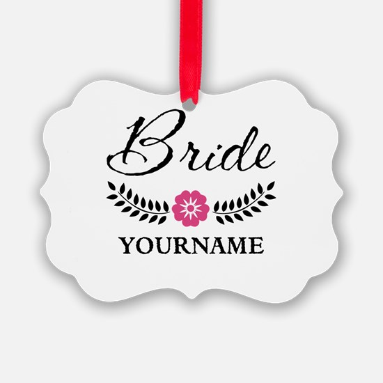 Custom Bride with Flower Wreath Ornament