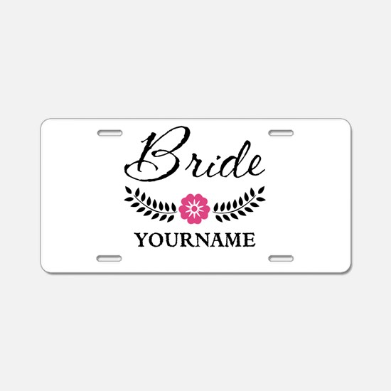 Custom Bride with Flower Wr Aluminum License Plate