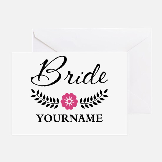 Custom Bride with Flower Wreath Greeting Card
