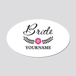 Custom Bride with Flower Wre 20x12 Oval Wall Decal