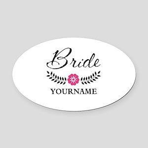Custom Bride with Flower Wreath Oval Car Magnet