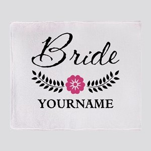 Custom Bride with Flower Wreath Throw Blanket