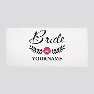 Custom Bride with Flower Wreath Beach Towel