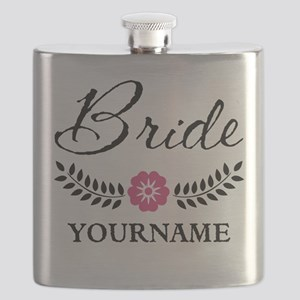 Custom Bride with Flower Wreath Flask
