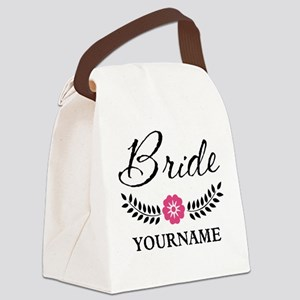 Custom Bride with Flower Wreath Canvas Lunch Bag