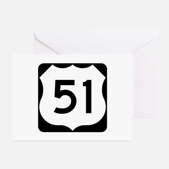 US Route 51 Greeting Cards (Pk of 10)