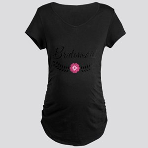 Cute Pink Flower Bridesmaid Maternity Dark T-Shirt