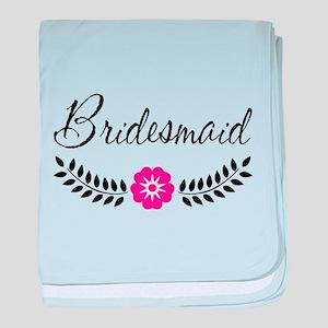 Cute Pink Flower Bridesmaid baby blanket