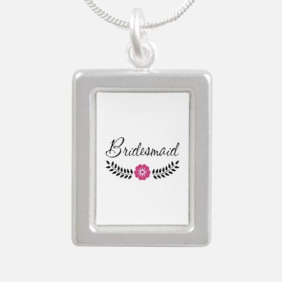 Cute Pink Flower Bridesm Silver Portrait Necklace