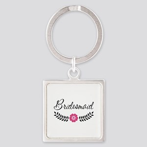 Cute Pink Flower Bridesmaid Square Keychain