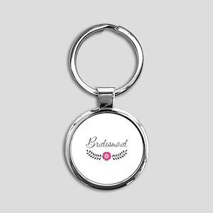 Cute Pink Flower Bridesmaid Round Keychain