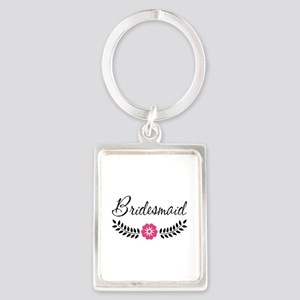 Cute Pink Flower Bridesmaid Portrait Keychain