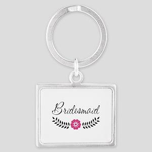 Cute Pink Flower Bridesmaid Landscape Keychain