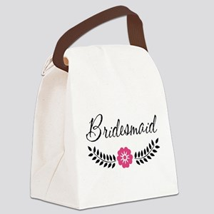 Cute Pink Flower Bridesmaid Canvas Lunch Bag