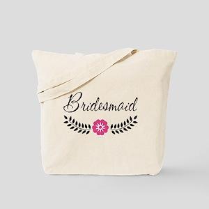Cute Pink Flower Bridesmaid Tote Bag