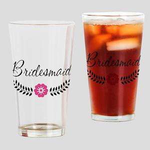 Cute Pink Flower Bridesmaid Drinking Glass