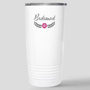 Cute Pink Flower Brides Stainless Steel Travel Mug