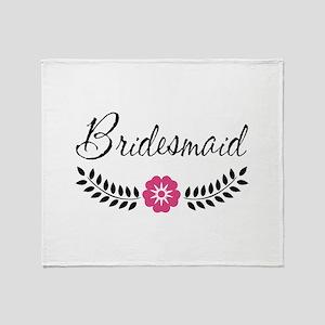 Cute Pink Flower Bridesmaid Throw Blanket