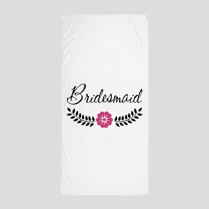 Cute Pink Flower Bridesmaid Beach Towel
