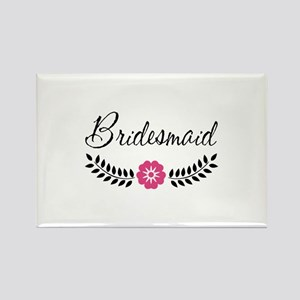 Cute Pink Flower Bridesmaid Rectangle Magnet