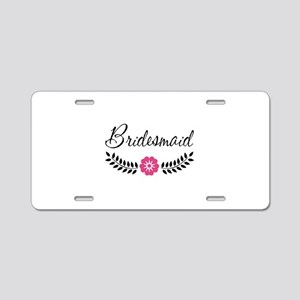 Cute Pink Flower Bridesmaid Aluminum License Plate