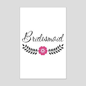 Cute Pink Flower Bridesmaid Mini Poster Print