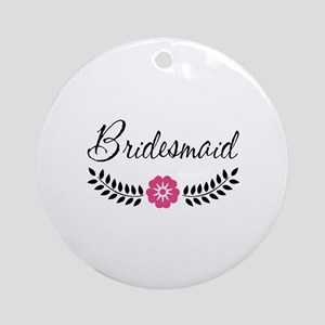 Cute Pink Flower Bridesmaid Ornament (Round)