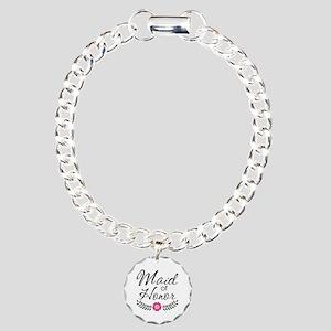 Cute Pink Maid of Honor Charm Bracelet, One Charm