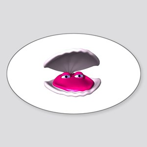 Cute Clam in Shell Oval Sticker