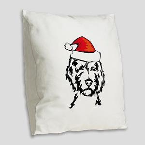 christmas dog Burlap Throw Pillow