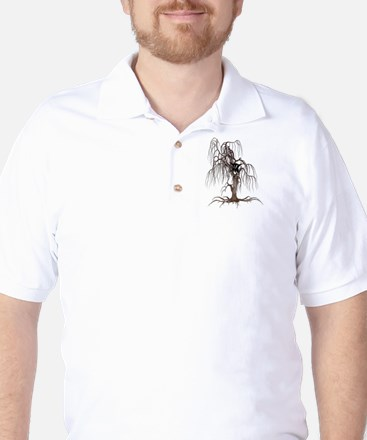Cat Face In Tree Golf Shirt