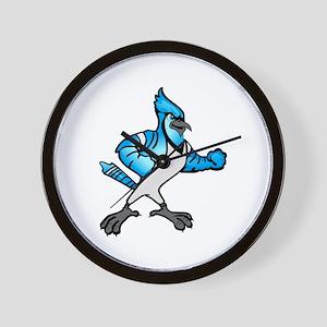 FIGHTING BLUE JAY Wall Clock