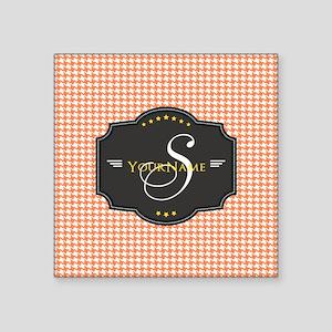 "Houndstooth Custom Monogram Square Sticker 3"" x 3"""